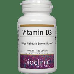 Bioclinic Naturals Vitamin D3 2000 IU 180 softgels B9433