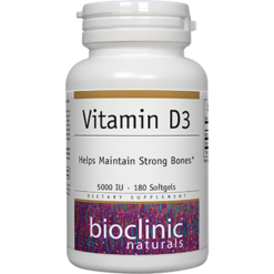 Bioclinic Naturals Vitamin D3 5000 IU 180 softgels B9434