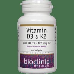 Bioclinic Naturals Vitamin D3 amp K2 60 gels BC9313