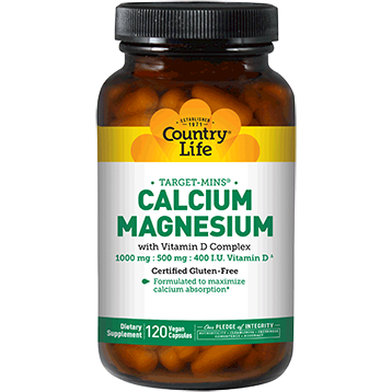 Country Life Calcium Magnesium w D 120 vegcaps C24873