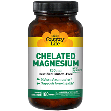 Country Life Chelated Magnesium 250 mg 180 tabs C26860