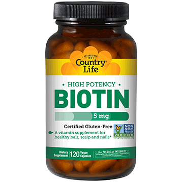 Country Life High Potency Biotin 5 mg 120 vegcaps C65067