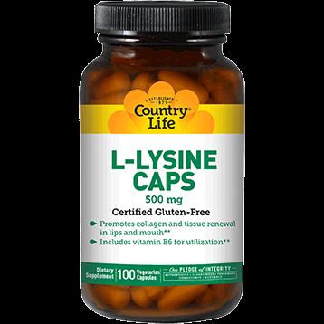 Country Life L Lysine 500 mg w B6 100 vegcaps C13075
