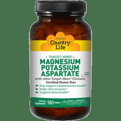 Country Life Magnesium Potassium Aspartate 180 tabs C24958