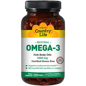 Country Life Omega 3 Fish Oil 1000 mg 200 gels C44987