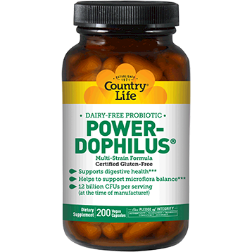 Country Life Power Dophilus Milk Free 200 vegcaps C30577