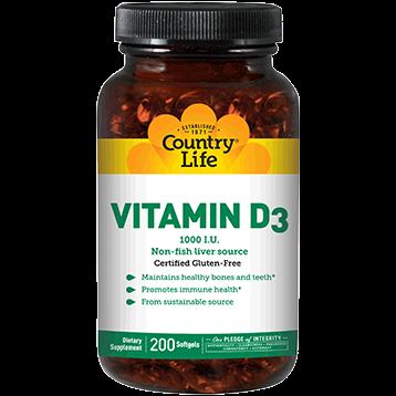Country Life Vitamin D3 1000 IU 200 gels C58069