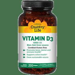 Country Life Vitamin D3 5000 IU 200 gels C58083