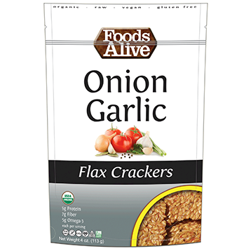 Foods Alive Onion Garlic Flax Crackers Organic 4 oz FAL058