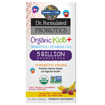 Garden of Life Organic Kids Probiotics Strw Ban 30chews G22207