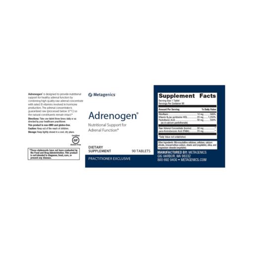 Metagenics Adrenogen 90s Label