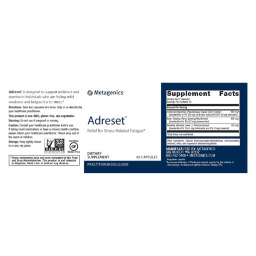 Metagenics Adreset 60s Label