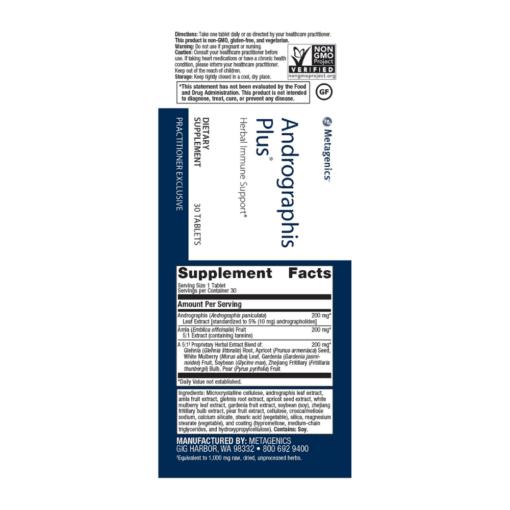 Metagenics Andrographis Plus 90s Label