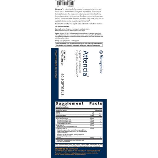 Metagenics Attencia Label