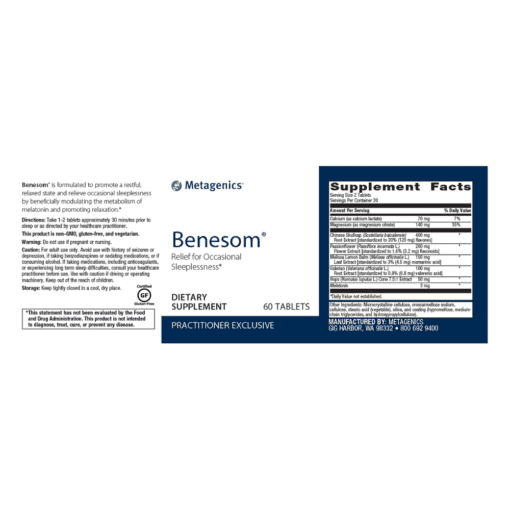 Metagenics Benesom Label