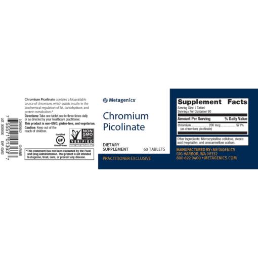 Metagenics Chromium Picolinate Label