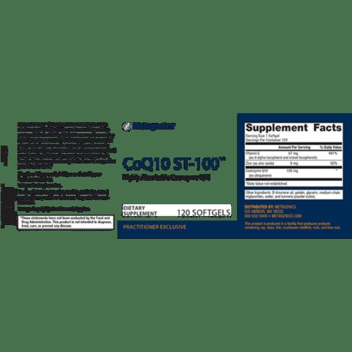 Metagenics CoQ10 ST-100 Label
