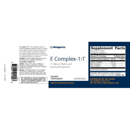 Metagenics E Complex- 1:1 60s Label