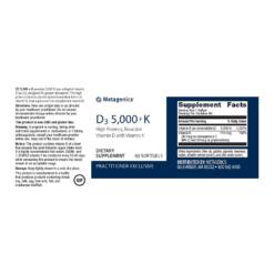 Metagenics Vitamin D3 5000 K Label