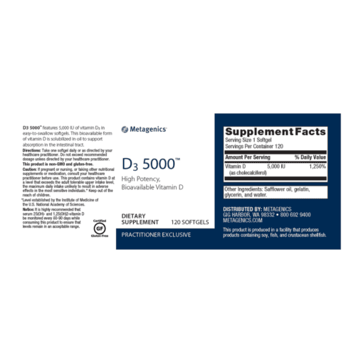 Metagenics Vitamin D3 5000 Label