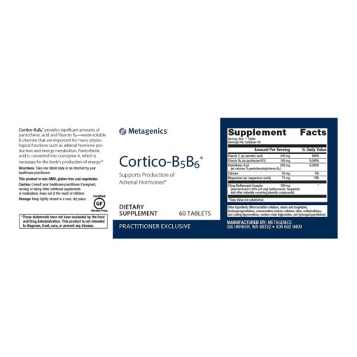 Metagnics Cortico B5 B6 60s Label