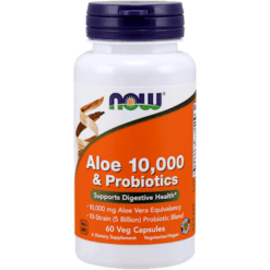 NOW Aloe 10000 amp Probiotics 60 vegcaps N30290