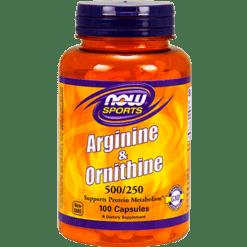 NOW Arginine amp Ornithine 500 250 100 caps N0040