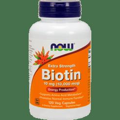 NOW Biotin Extra Strength 10 mg 120 vegetarian capsules N0479