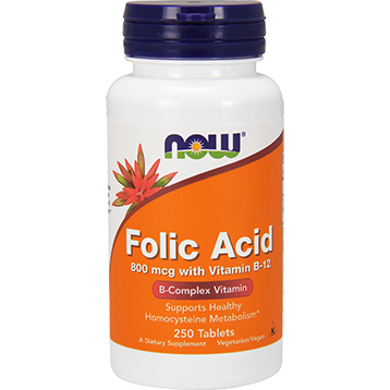 NOW Folic Acid 800 mcg 250 tablets N0476