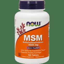 NOW MSM 1500 mg 100 tabs N2130