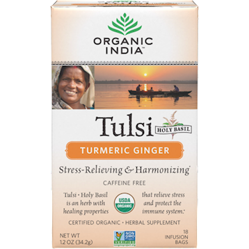 Organic India Tulsi Tea Turmeric Ginger 18 tea bags O12324