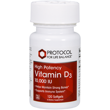 Protocol For Life Balance Vitamin D 3 10000 IU 120 gels P03764