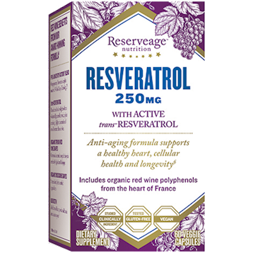 Reserveage Resveratrol 250mg 60 vegcaps R78622