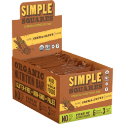 Simple Squares Cinna Clove Protein Bars Organic 12 bars SS2075