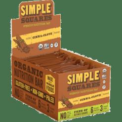Simple Squares Cinna Clove Protein Bars Organic 12 bars SS2075