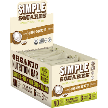 Simple Squares Coconut Protein Bars Organic 12 bars SS2037