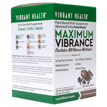 Vibrant Health Maximum Vibrance Choc 10 Packets 5 srv VB1289