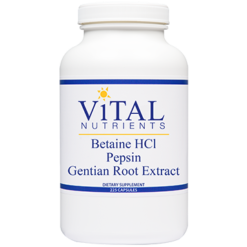Vital Nutrients Betaine HCL w Pepsin Gentian 225 caps BET19