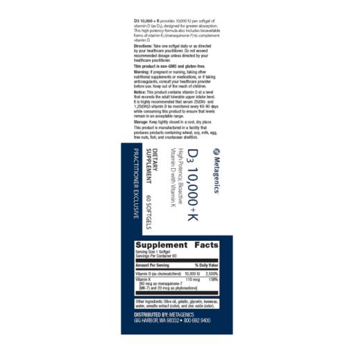 Vitamin D3 10000 K Label
