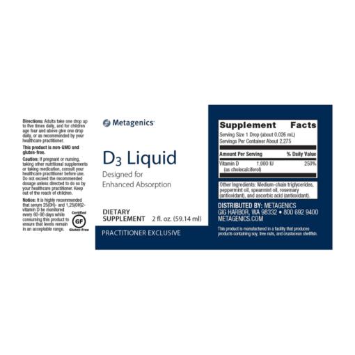 Metagenics Vitamin D3 Liquid Label