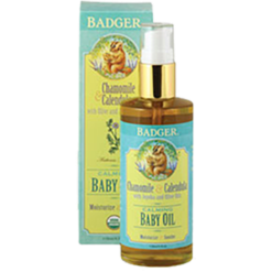 W.S. Badger Company Calming Baby Oil Glass Bottle 4 fl oz B84010
