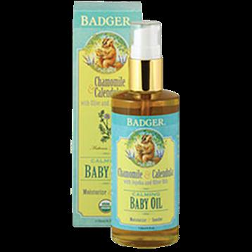 W.S. Badger Company Calming Baby Oil Glass Bottle 4 fl oz B84010