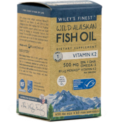 Wileys Finest Wild Alaskan Fish Oil Vit K2 60 softgels W04340