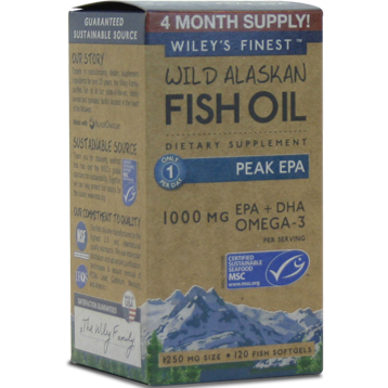 Wileys Finest Wild Alaskan Peak EPA 120 softgels W04203
