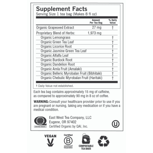 Green Tea Super Antioxidant Label
