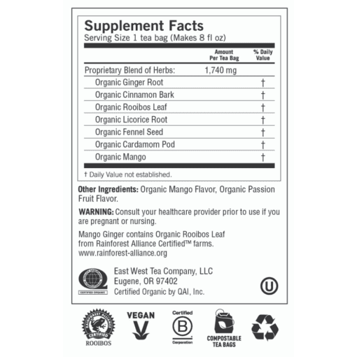 Yogi Teas Mango Ginger Label
