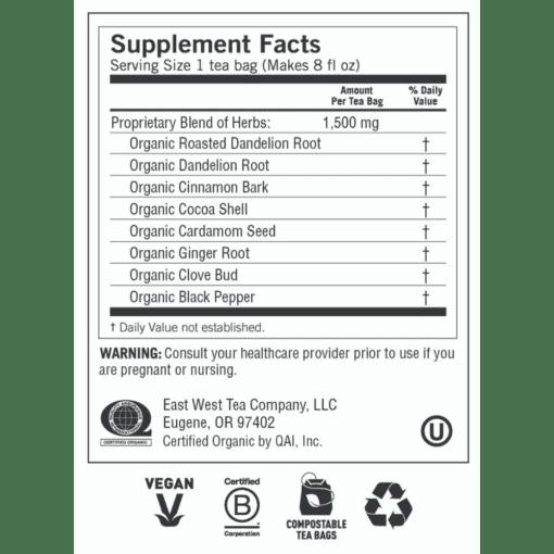 Yogi Teas Roasted Dandelion Spice Detox Label