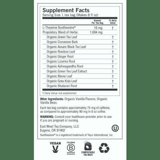 Yogi Teas Vanilla Spice Perfect Energy Label